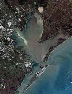Aerial photo of Galveston Bay.