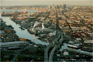 Northernmost portion of the highly industrialized Duwamish River, with downtown Seattle and Elliott Bay in the background. Photo: Paul Joseph Brown