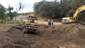 Heavy Equipment doing initial grading. Credit: Upper Salinas - Las Tablas Resource Conservation District.