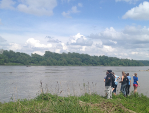 Youth at confluence of the Blue River and the Missouri River. Spring 2015. Photo: Blue River Watershed Association