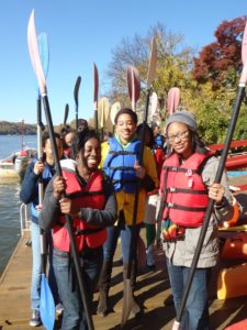 Groundwork Anacostia Green Team youth prepare to paddle the Potomac River