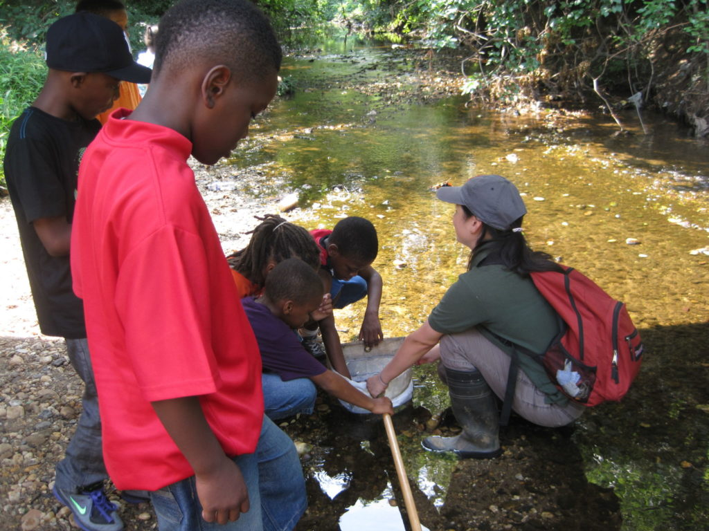 Groundwork youth participate in water quality monitoring in the Watts Branch