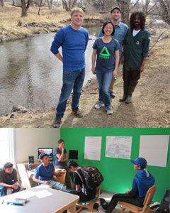 Denver staff stand near Lower South Platte; Green Team students in session